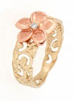 Scrollled Ring with Plumeria